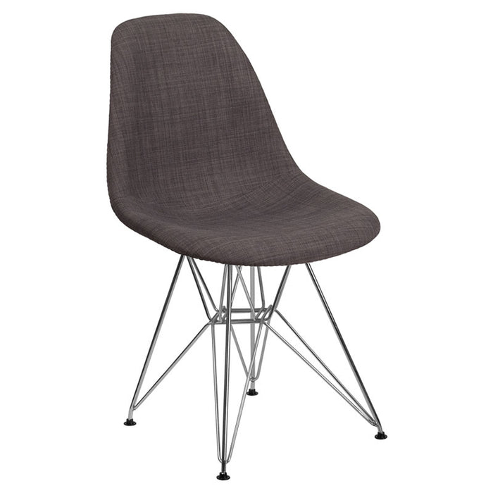 SUMATRA SERIES GRAY FABRIC CHAIR WITH CHROME BASE