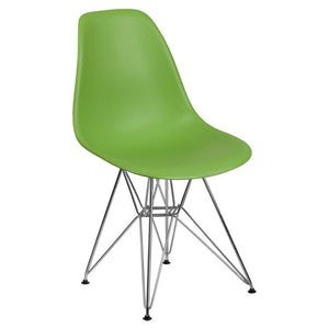 SUMATRA SERIES GREEN PLASTIC CHAIR WITH CHROME BASE