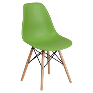 SUMATRA SERIES GREEN PLASTIC CHAIR WITH WOOD BASE