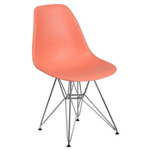 SUMATRA SERIES PEACH PLASTIC CHAIR WITH CHROME BASE