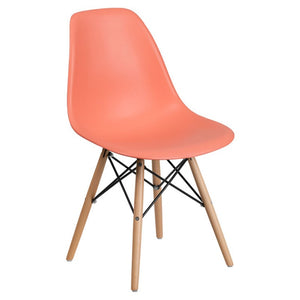 SUMATRA SERIES PEACH PLASTIC CHAIR WITH WOOD BASE