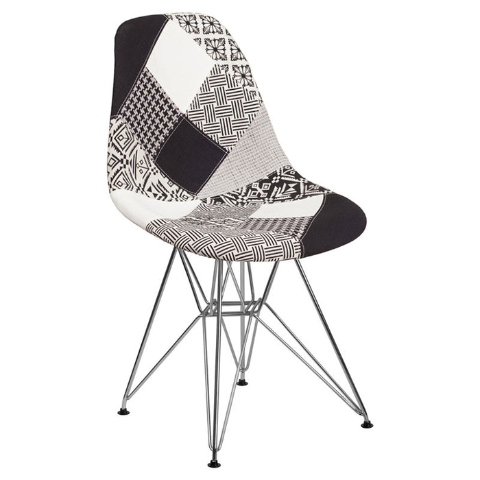 SUMATRA SERIES TURIN PATCHWORK FABRIC CHAIR WITH CHROME BASE