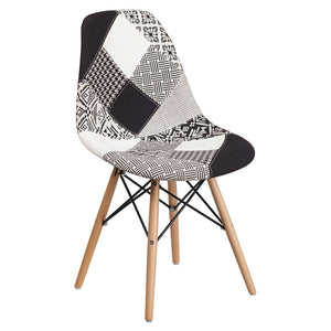 SUMATRA SERIES TURIN PATCHWORK FABRIC CHAIR WITH WOOD BASE