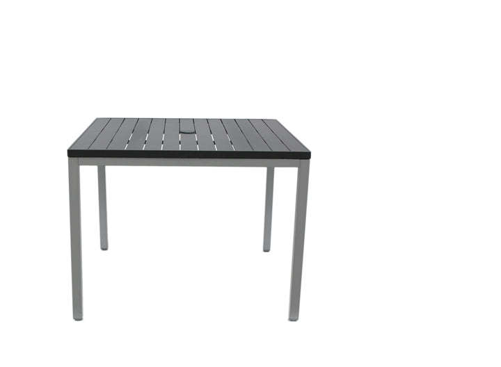 Zuni Square Dining Table w/Aluminium Slat Top Black & UH
