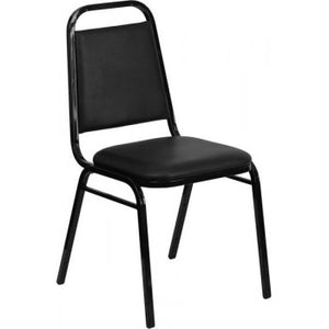 ADRIA Series Upholstered Stack Chair with Trapezoidal Back and a 1.5'' Padded Foam Seat - Black Vinyl with Black Frame [FD-BHF-2-GG]