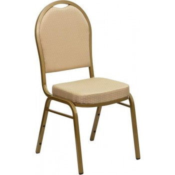 ADRIA Series Dome Back Stacking Banquet Chair with Beige Patterned Fabric and 2.5'' Thick Seat - Gold Frame [FD-C03-ALLGOLD-H20124E-GG]