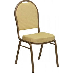 ADRIA Series Dome Back Stacking Banquet Chair with Beige Patterned Fabric and 2.5'' Thick Seat - Gold Frame [FD-C03-ALLGOLD-H20377A-GG]