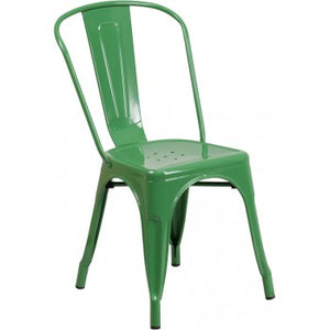 PHOENIX - GREEN METAL CHAIR / WOOD SEAT OPTION
