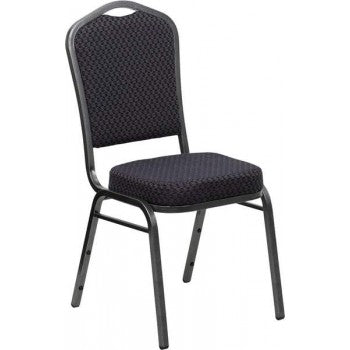 ADRIA Series Crown Back Stacking Banquet Chair with Black Patterned Fabric and 2.5'' Thick Seat - Silver Vein Frame [HF-C01-SV-E26-BK-GG]