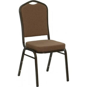 ADRIA Series Crown Back Stacking Banquet Chair with Coffee Fabric and 2.5'' Thick Seat - Gold Vein Frame [NG-C01-COFFEE-GV-GG]