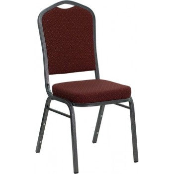 ADRIA Series Crown Back Stacking Banquet Chair with Burgundy Patterned Fabric and 2.5'' Thick Seat - Silver Vein Frame [NG-C01-HTS-2201-SV-GG]