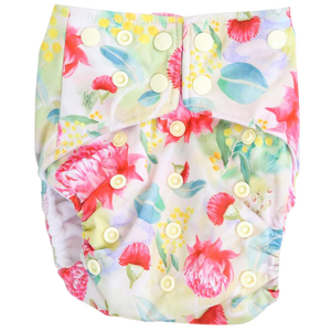 Bush Floral OSFM Nappy - Boho Babes Cloth Nappies