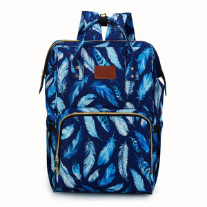 Nappy Bag - Blue feathers