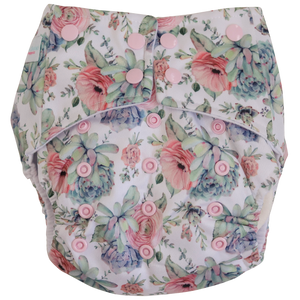 Pink Succulent OSFM Nappy - Boho Babes Cloth Nappies