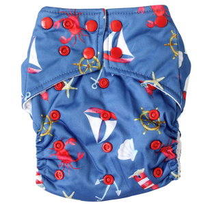 Ships Ahoy OSFM Nappy - Boho Babes Cloth Nappies