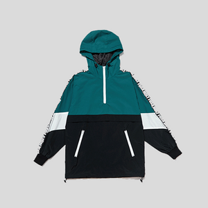 Patchwork Hooded Pullover Windbreaker Jacket