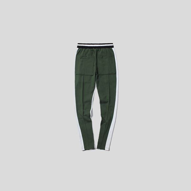 Track Hit Color Side Zipper Pants w Elastic Waist