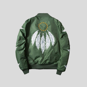 Embroidery Feather Bomber Jacket