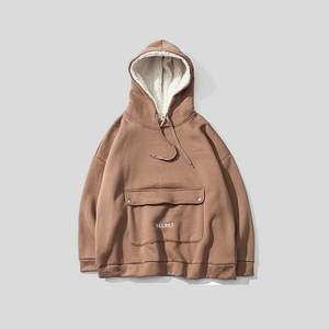 'Secret' Fleece Hooded Pullover O-Neck Hoodie
