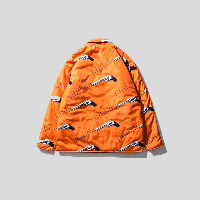 Full Printed Subgenerational Thick Orange Reversible Jacket