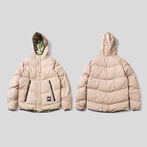 Warm Hooded Padded Parka Jacket with Inside Camo Print
