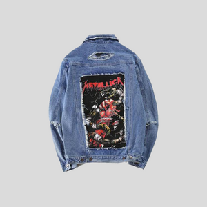 Metallica Blue & Black Denim Jacket w/ Rips