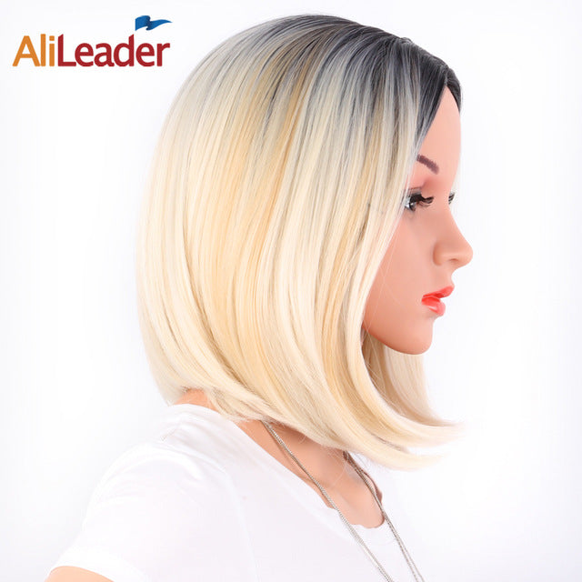 African American Bob Wigs Short Shoulder Length Ombre Blonde,  8 Colors, Straight Synthetic Wigs