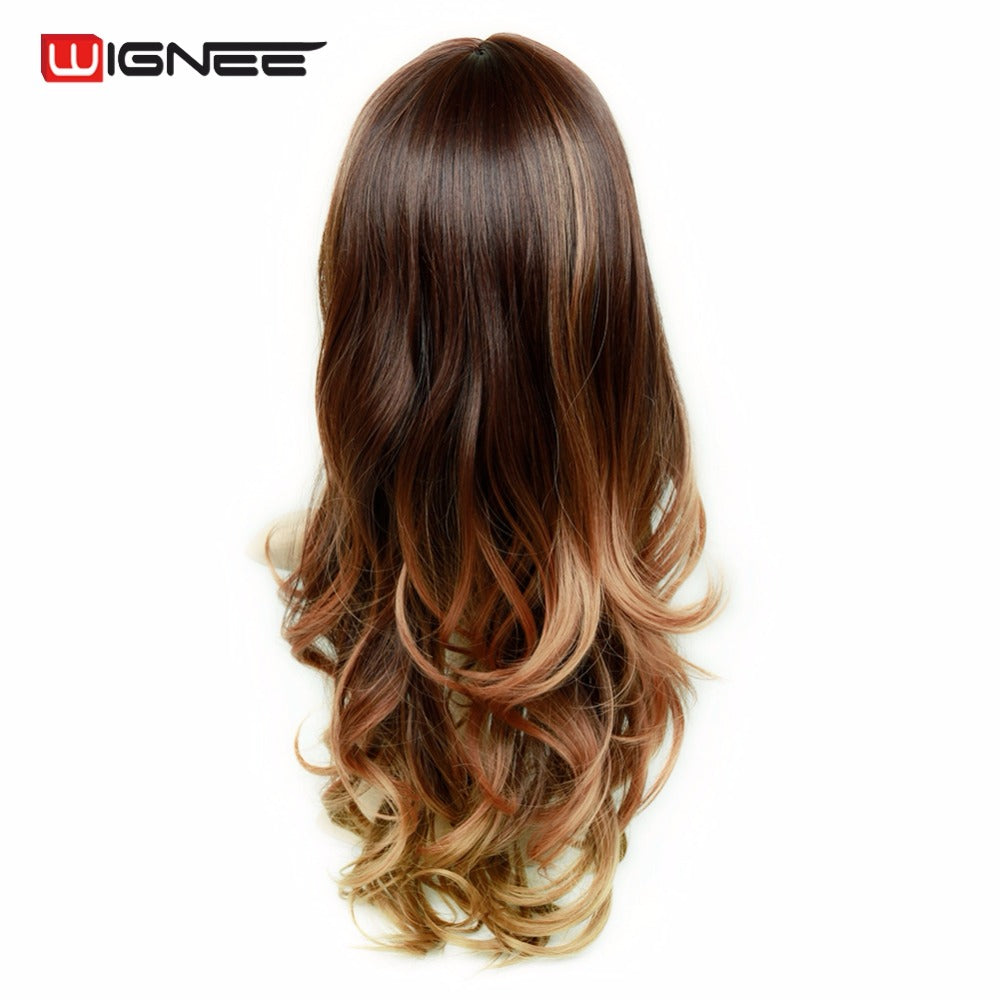 Synthetic Wigs With Bangs For Women Long Hair High Density Temperature