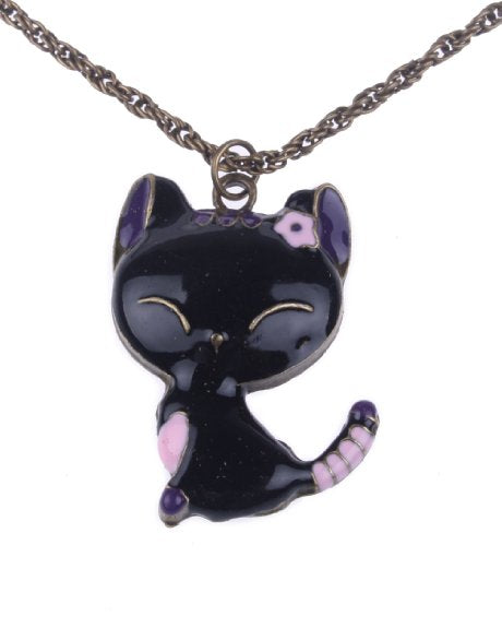 Retro Style Drops of Oil Painting Cute Cat Pendant Necklace