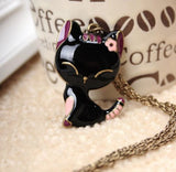 Oil Painting Cute Cat Pendant Necklace
