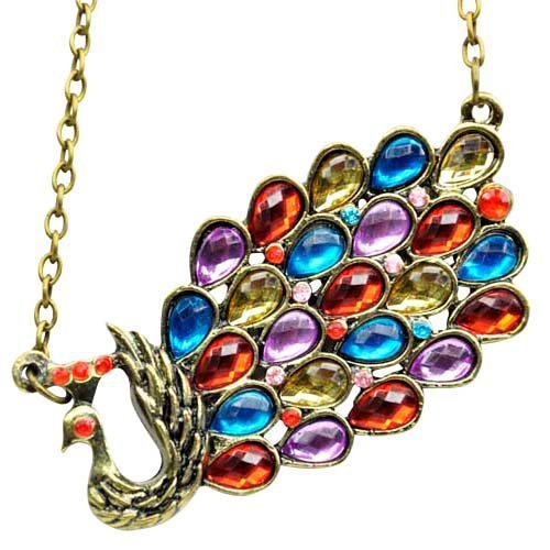 Fashion Crystal Peacock multicolor necklace