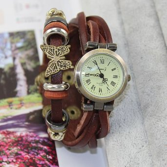 Weave leather wrap watch