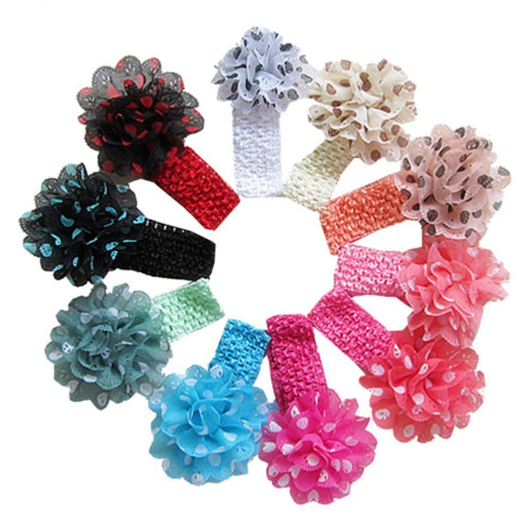 New 10pcs Kids Baby Girls Headband Polka Dot Chiffon Flowers Hairband Headwear
