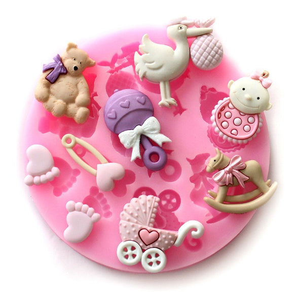 Mini Baby Shower Fondant Mold Silicone Sugar Mold