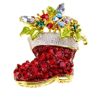 Festive Christmas Boot Crystal Brooch Pin