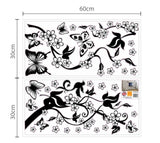 Removable Vinyl Wall Sticker Mural Decal Art - Dancing Butterflies and Tree Branch