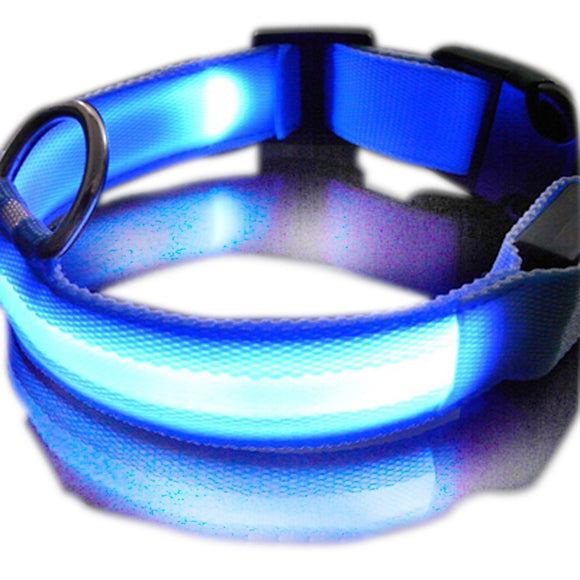 New Blue Nylon LED Dog Night Safety Collar Flashing Light up