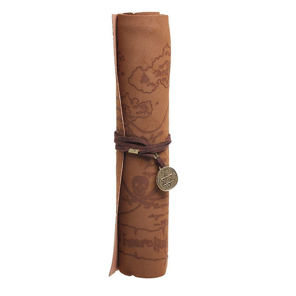 Pirate Treasure Map Roll PU Leather Pencil Holder