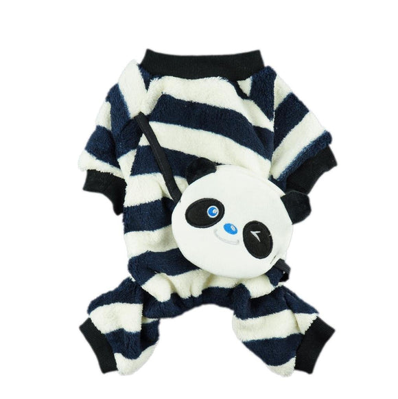 Cozy Stripe Dog Clothes for Dog Coat Panda Pjs Pet Dog Jumpsuit