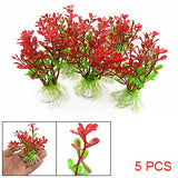 Fish Tank Aquarium Red Green Plastic Plant Decor Ceramic Base