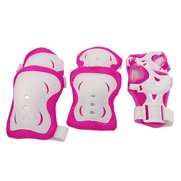 Children Fuchsia White Knee Palm Elbow Protective Pad Support