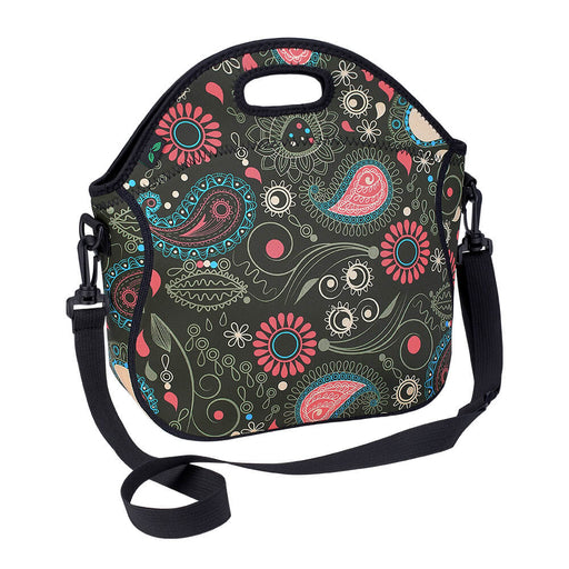 Doubleleaves 7L Neoprene Lunch Bag with Shoulder Strap and Pocket (Flower)