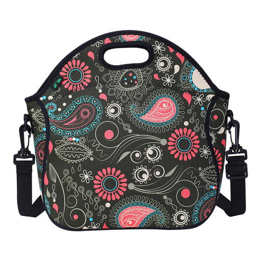 7L Neoprene Lunch Bag with Shoulder Strap and Pocket (Flower)