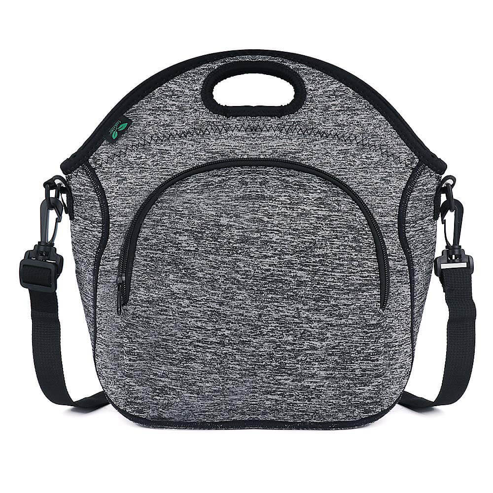 Neoprene Lunch Bag with Front Zipper Pocket and Shoulder Strap (Grey)
