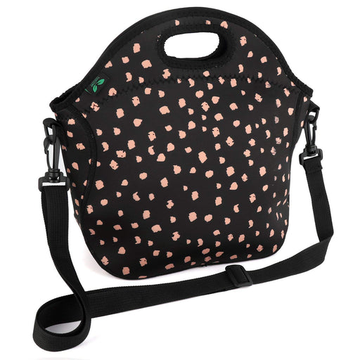 7L Neoprene Lunch Bag with Shoulder Strap and Pocket (Pink Dot)