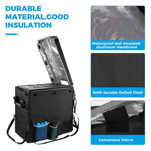 Double Leaves Insulated Protective Cover Transit Bag for 53 Quart Portable Refrigerator Fridge