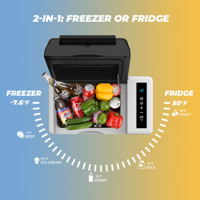 Double Leaves Portable Freezer Car Refrigerator 24 Quart 12V Car Freezer Travel Fridge 23L (-7.6℉~50℉) with 12/24V DC and 110-240 AC, Compressor Refrigerator for Truck, RV, Boat and Camping
