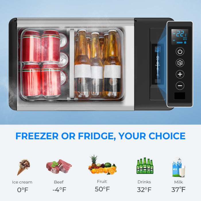 Double Leaves 12V Car Refrigerator Portable Freezer 30 Quart(28L), Portable Refrigerator Fridge(-7.6℉~50℉) with 12/24V DC and 110-240 AC, Travel Refrigerator for Vehicles, Car, Truck, RV, and Camping