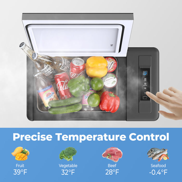 Double Leaves Portable Refrigerator Car Freezer 23 Quart 12V Car Refrigerator Fridge 22L (-7.6℉~50℉) with 12/24V DC and 110-240 AC Compressor Freezer for Home, Truck, RV, Boat, Camping, Travel