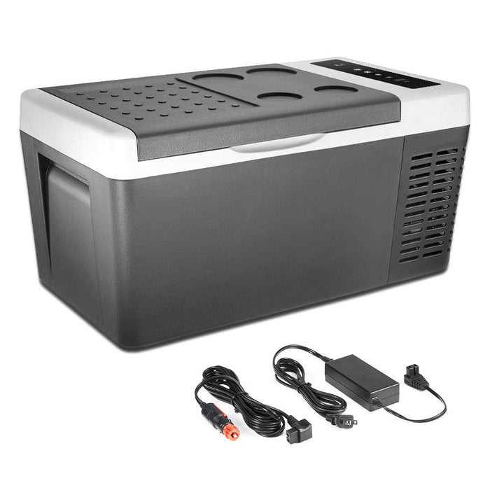 Double Leaves Portable Refrigerator Freezer (-7.6℉~131℉), Mini Fridge 18L(20 Quart) with DC 12V/24V and AC, Electric Thermoelectric Car Cooler/Warmer for RV, Truck, Camping Trip and Home